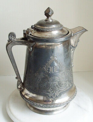 Antique Silver Plate large Ice Water Pitcher Insulated by J A Stimpson 33cm Tall