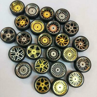 1/64 Scale Rubber Tires Alloy Wheels Custom Hot Wheels Modified Tire