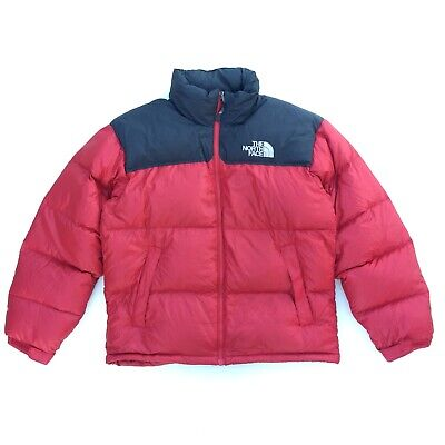 The North Face 700 Puffer Jacket M MEDIUM Mens Red Black Down Feather Coat