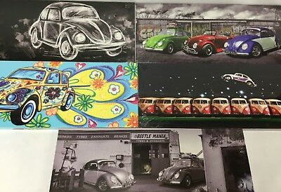 """5 Different VW Beetle Canvas designs  24""""x 10"""" On A Wooden Stretcher Frame"""