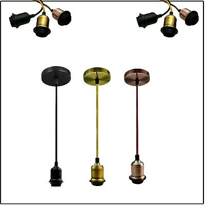 Pendant LampHolder Fitting Lighting Screw Ceiling Rose Light PVC Fabric Flex