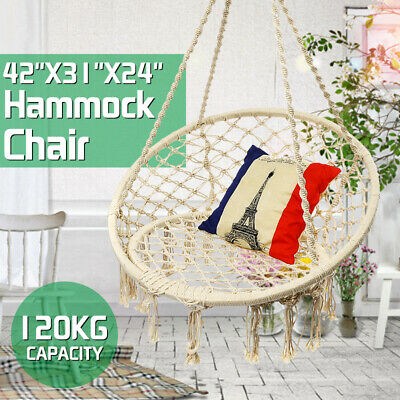 Hammock Rope Swing Chair Knitted Macrame Hanging Chair Seat Patio Balcony Garden