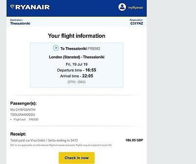 One way Ryanair flight to Thessaloniki, Greece (please ignore delivery)