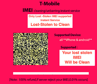 USA T-Mobile iPhone unbarring cleaning Instant Service only Lost Stolen