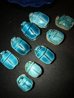 9 Egyptian Antique Glazed Ceramic Scarab Beads  US Seller Turquoise Blue Color