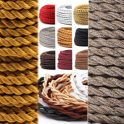 Vintage Choice of Colours TWIST 2/3 Core Braided Fabric Cable Lighting Lamp UK
