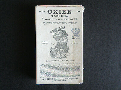 1930's Augusta Maine OXIEN Tablets for Old/Young Giant Illustrated Unopened Box