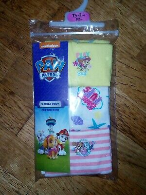 Brand New Nickelodeon Paw Petrol 3 Girls Vest Tops 1.5-2 Years 92cm