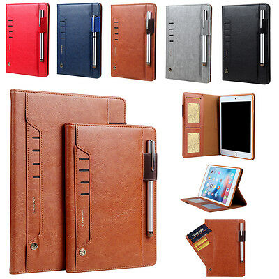 For Apple iPad mini Air Pro Smart Leather Flip Case Pen Holder Wallet Card Cover