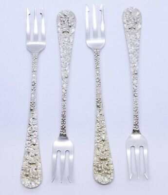 """Lot Set of 4 Stieff Rose 925 Sterling Silver 5-3/4"""" Oyster Fork NO MONO"""
