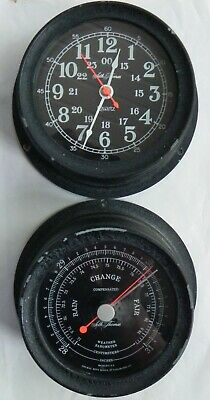 Vintage Ship's Clock & Barometer. Seasprite II Seth Thomas. Black Finish.