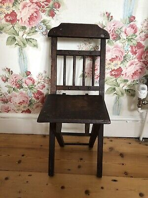 Antique Hand Made Folding Childs Chair Circa 1920. Doll/Teddy bear Display