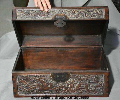 "18"" Old China Huanghuali Wood Dynasty Dragon Phoenix Bead Jewelry Box Container"
