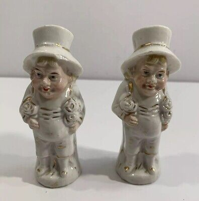 Pair Of Antique English Bisque Staffordshire Leprechaun Salt And Pepper Shakers