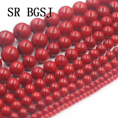 """Natural Round Red Sea Bamboo Coral Gemstone Jewelry DIY Loose Beads Strand 15"""""""