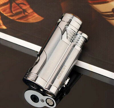 Double Windproof Jet Torch Flame Butane Gas Cigarette Lighter With Cigar Punch