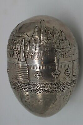 A Fine Russian Solid Silver Egg Showing Moscow Hallmarked 84