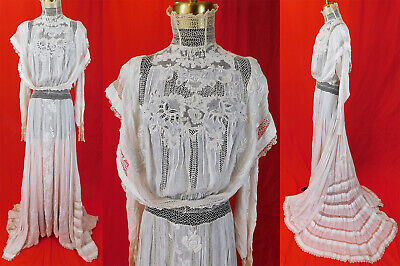 Vintage Victorian Wedding White Cotton Embroidery Drawn Cut Work Lace Lawn Dress