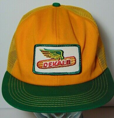 Vintage 1980s DEKALB FARM PATCH SNAPBACK TRUCKER HAT CAP K-PRODUCTS MADE IN USA