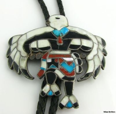 Authentic Zuni Large Eagle Dancer Multi Gem Inlay Bolo Tie - Silver & Leather A+