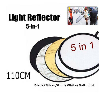 110CM 5Pcs Photo Reflector Studio Photography Light Collapsible w/Carrying Bag
