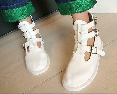 Womens Ladies Fashion Leather Soft Buckle Straps Ankle Martin Boots Shoes SKGB