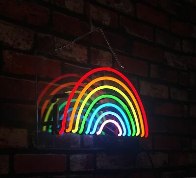 Rainbow Real Glass Decor Pub Handmade Bar Neon Light Sign 14x8 Artwork Room