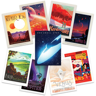 NASA Space Grand Tour Travel Exploration Exoplanet Wall Art Poster Pack of 9