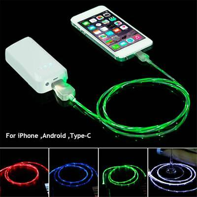 Flowing Visible LED Light UP Micro USB Data Sync Chargers Cables For Smart phone