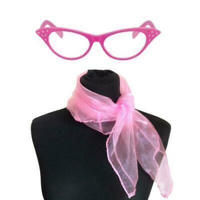 Pink  Glasses Scarf 50's Fancy Dress Hen Nights Party 1950's