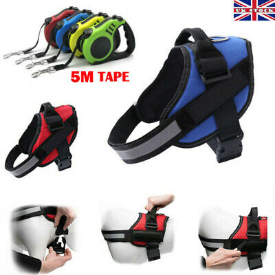 Dog Harness Outdoor Adventure Pet Vest Padded Handle +5M Retractable Lead Tape L