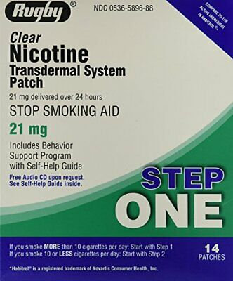 Nicotine Patch Transdermal System 21mg 14ct Step 1 Stop Smoking Aid Exp 11/2020+