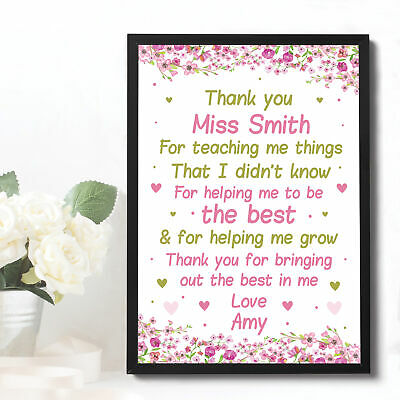 Personalised Teacher Gifts Framed Print Thank You School Nursery Leaving Present