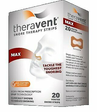 Theravent Snore Therapy Strips, Max, 20 Count Each (Pack of 7)