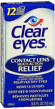 Clear Eyes Contact Lens Multi-Action Relief Eye Drops - 0.5 oz, Pack of 6