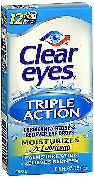 Clear Eyes Triple Action Relief Eye Drops 0.50 oz (Pack of 3)