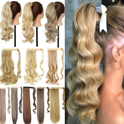 UK Real Long Layered Wrap Around Ponytail Clip In As Human Hair Extensions NJTCS