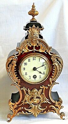 C19Th Lenzkirch Aug German  Mantel Clock With Brass And Ormolu Fittings