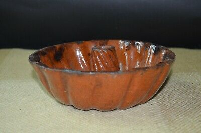 Antique 19th Century Redware Bundt Cake Pan or Jelly Mold Usable Condition