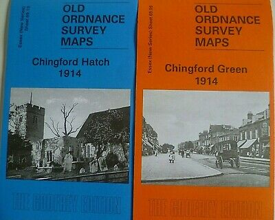Old Ordnance Survey 2 Maps Chingford Green & Hatch Essex 1914  Godfrey Edition