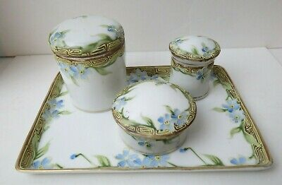 Dainty Victorian Nippon Hand Painted Porcelain Dresser Vanity Set 3 Boxes & Tray