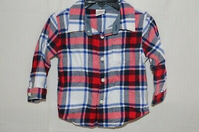 Gymboree Baby Boy Flannel Shirt - Size 12-18 Months - Red/Blue/White Plaid