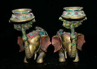 """10"""" Old Tibet Turquoise Copper Elephant Statue Pair Candlestick Candle Holder"""