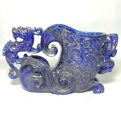 Old Chinese Handwork Rare Blue Coloured Glaze Dragon Beast Collectible Wine Cup