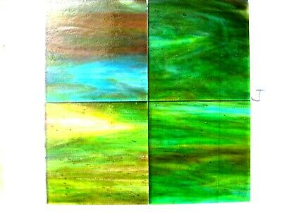 4 Green Stained Glass Hobby Sheets 100mm x 100mm x 3m  Quality Craft Items LOT J