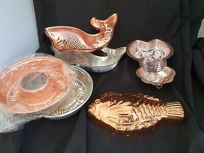 Large 32 cm Vintage ANODISED PINK FISH x3  Lobster 2x round Moulds Jelly Pate