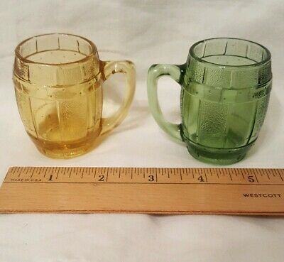 SET Vintage Green & Amber Glass Mini Barrel Shot Barware Toothpick Holder