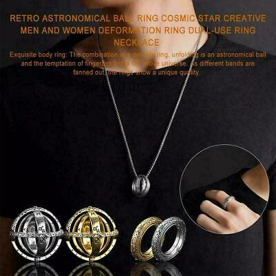 Astronomical Sphere Ball Ring Cosmic Ring Couple Necklace Jewelry Gift Luckyfine