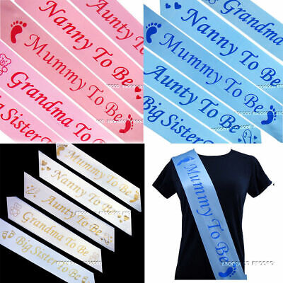 UK Baby Shower Sashes Boy or Girl Party Mum To Be, Aunty & Big Sister To Be Sash