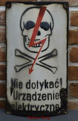 Vintage -Electricity Warning!  Metal Enamel Sign /4658